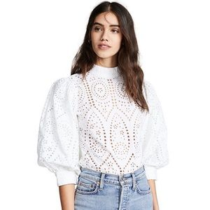 Ganni Broderie Anglaise Blouse in Bright White, Size 2